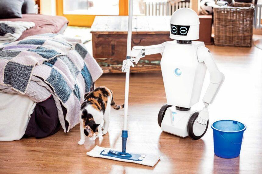 Haushalts Roboter wischt den Boden, autonome Haushaltshilfe mit Wischmop erledigt die Hausarbeit