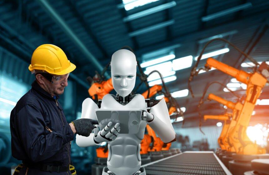 Roboter und Mensch gemeinsam am Arbeitsplatz